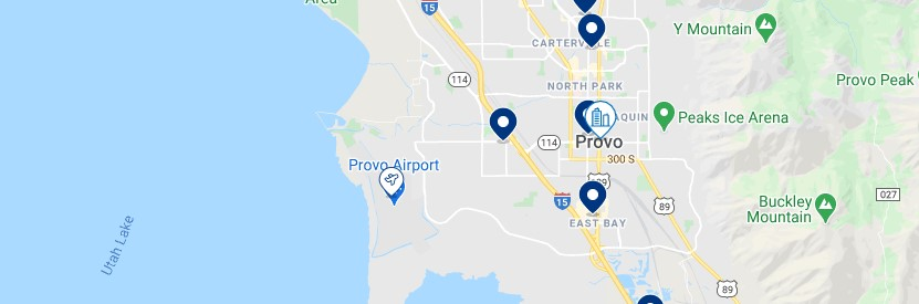 Accommodation in Provo - Click on the map to see all the accommodation in this area