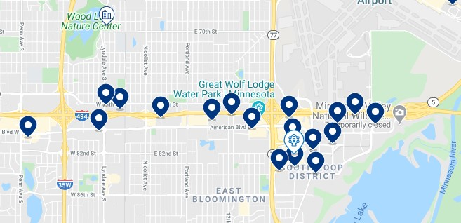Accommodation around the Mall of America, Minneapolis - Click on the map to see all available accommodation in this area