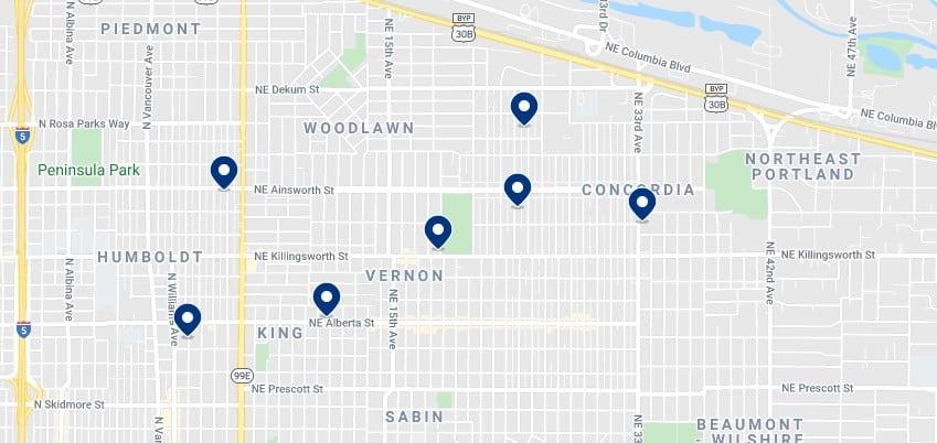 Alojamiento en el Alberta Arts District y Northeast Portland - Haz clic para ver todo el alojamiento disponible en esta zona