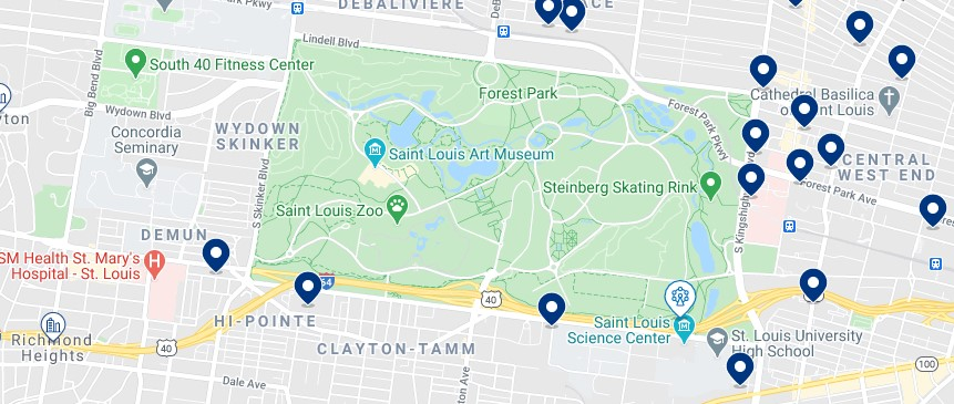 Accommodation around Forest Park - Click on the map to see all available accommodation in this area