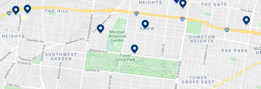 Accommodation around Tower Grove Park - Click on the map to see all available accommodation in this area
