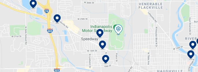 Accommodation around the Indianapolis Motor Speedway - Click on the map to see all available accommodation in this area