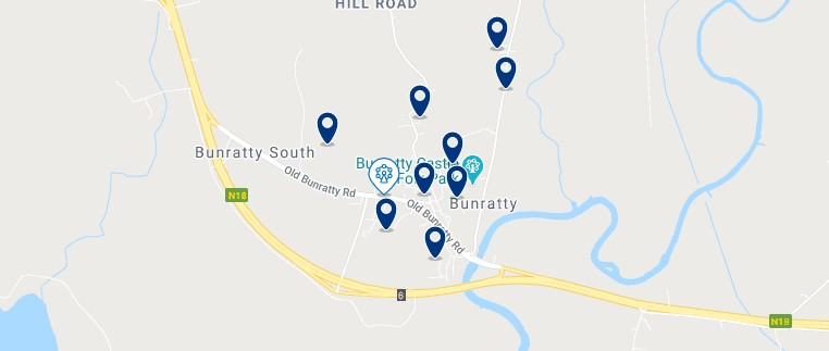 Accommodation in Bunratty - Click on the map to see all the accommodation in this area