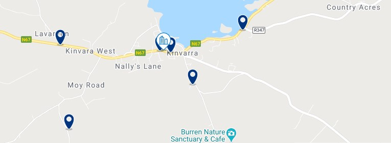 Accommodation in Kinvara - Click on the map to see all the accommodation in this area