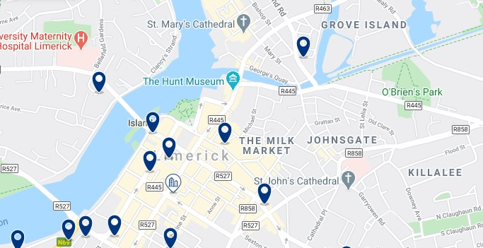 Accommodation in Limerick City Centre - Click on the map to see all the accommodation in this area