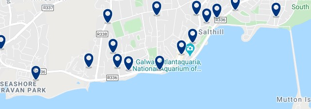 Accommodation in Salthill - Click on the map to see all the accommodation in this area