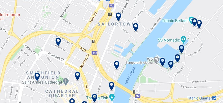 Accommodation in the Titanic Quarter - Click on the map to see all the accommodation in this area