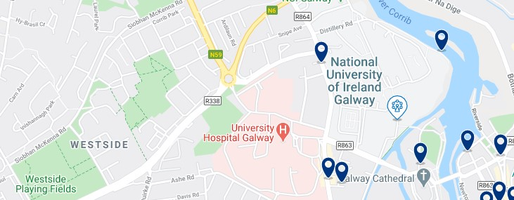 Accommodation near the National University of Ireland, Galway - Click on the map to see all the accommodation in this area