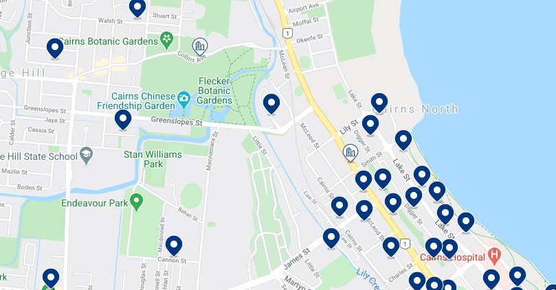 Accommodation in Cairns North - Click on the map to see all the accommodation in this area