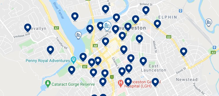 Accommodation in Launceston CBD - Click on the map to see all the accommodation in this area