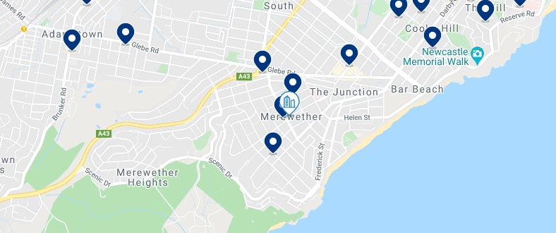 Accommodation in Merewether - Click on the map to see all the accommodation in this area
