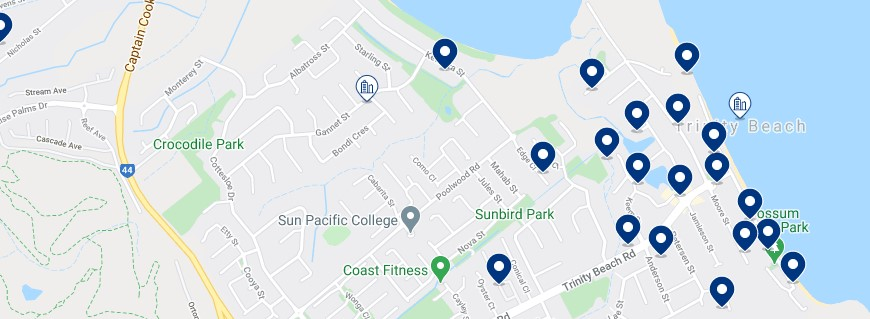 Accommodation in Trinity Beach - Click on the map to see all the accommodation in this area